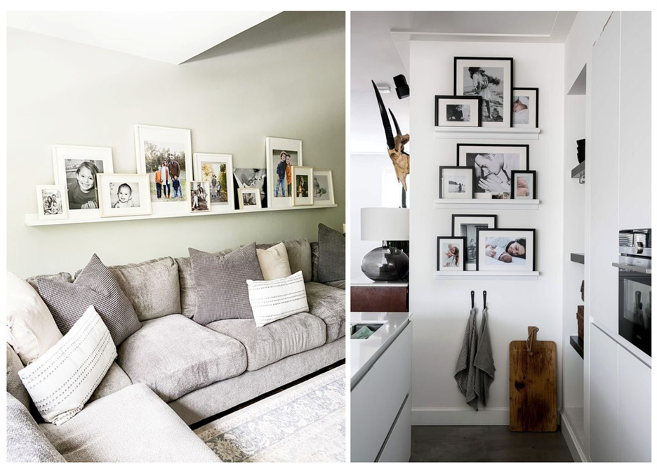 ledge shelf - How to Display Photos in Your Home